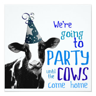 "Funny Cow Bachelor or Bachelorette Party 5.25"" Square Invitation Card"