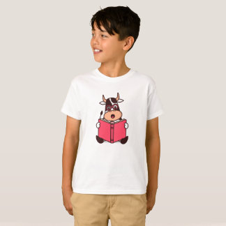 Funny Cow Bookworm Reading Lovers Boy's T-Shirt