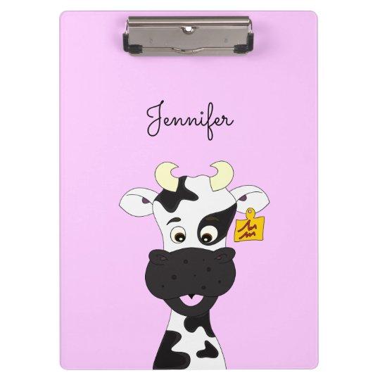 Funny cow cartoon girls clipboard