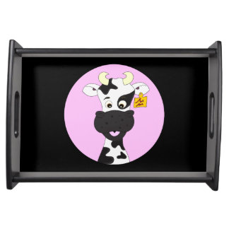 Funny cow cartoon pink black kids serving tray