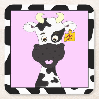 Funny cow cartoon pink girls square paper coaster