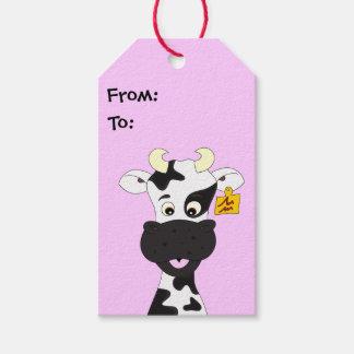 Funny cow cartoon pink kids gift tags
