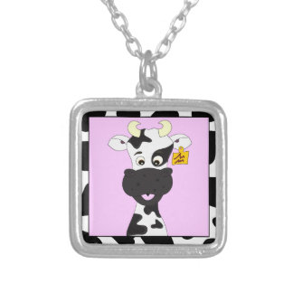 Funny cow cartoon silver plated necklace