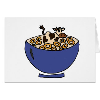 Funny Cow in Bowl of Toasted Oats Card