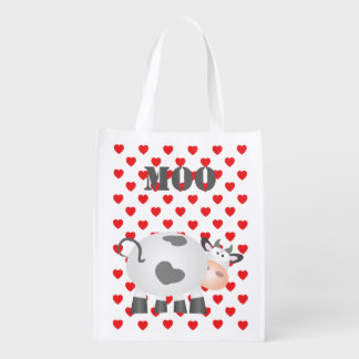 Funny Cow Moo And Red Hearts Polka Dot Pattern Reusable Grocery Bag