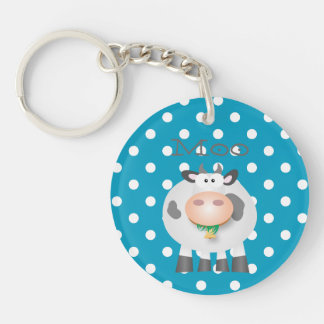 Funny Cow Moo And White Polka Dot Pattern Double-Sided Round Acrylic Keychain