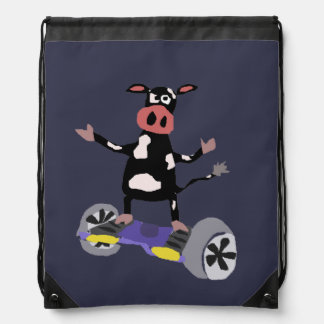 Funny Cow on Hoverboard Art Cinch Bag