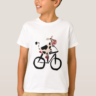Funny Cow Riding Bicycle Art T Shirt