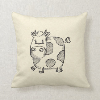 Funny Cow Sketch Throw Pillow
