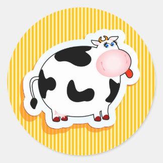 Funny cow round sticker