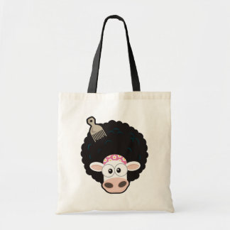 Funny Cow with an Afro and Comb on Pink