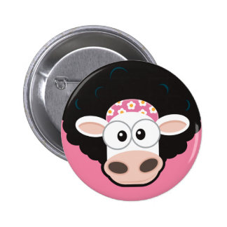 Funny Cow with an Afro and Comb on Pink 2 Inch Round Button