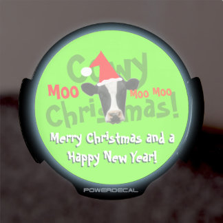 Funny Cowy Christmas Santa Cow LED Auto Decal