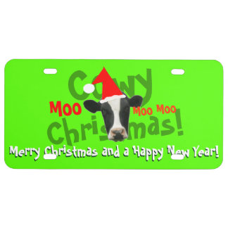 Funny Cowy Christmas Santa Cow License Plate