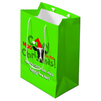 Funny Cowy Christmas Santa Cow Medium Gift Bag