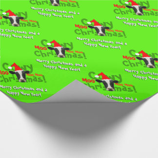Funny Cowy Christmas Santa Cow Pattern Wrapping Paper