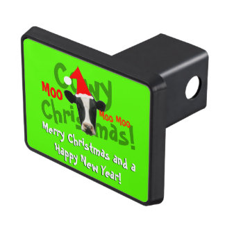 Funny Cowy Christmas Santa Cow Trailer Hitch Cover