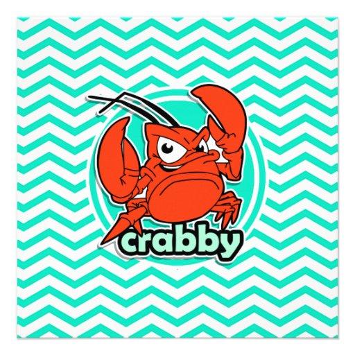Funny Crab; Aqua Green Chevron Personalized Announcement