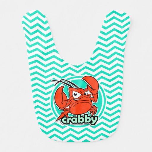 Funny Crab; Aqua Green Chevron Bibs