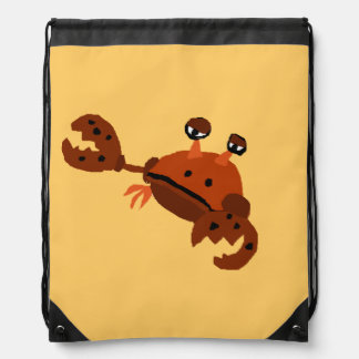 Funny Crab Beach Art Drawstring Bag