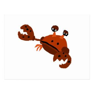 Funny Crab Beach Art Postcard