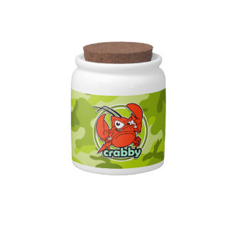 Funny Crab bright green camo camouflage Candy Dishes