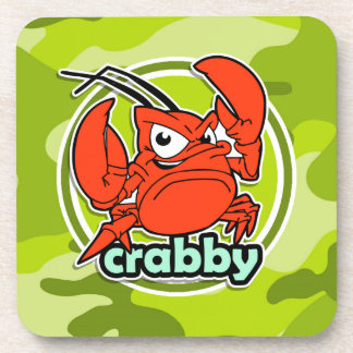Funny Crab bright green camo camouflage Coasters