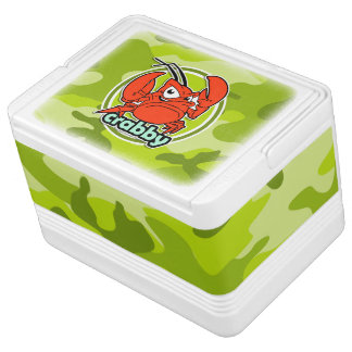 Funny Crab bright green camo camouflage Igloo Cooler