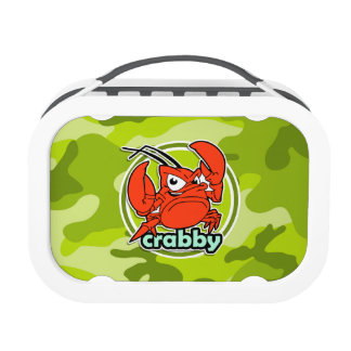 Funny Crab bright green camo camouflage Lunch Boxes