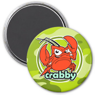Funny Crab bright green camo camouflage Magnets
