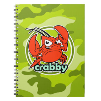 Funny Crab bright green camo camouflage Notebooks