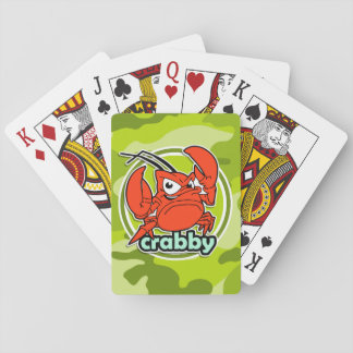 Funny Crab bright green camo camouflage Playing Cards