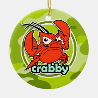 Funny Crab bright green camo camouflage Christmas Tree Ornament