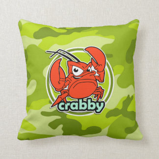 Funny Crab bright green camo camouflage Throw Pillow