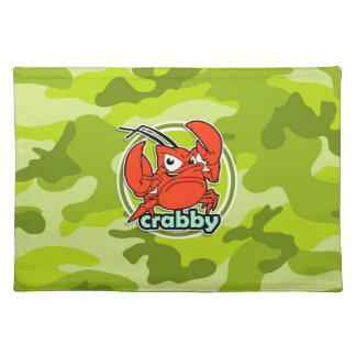 Funny Crab bright green camo camouflage Placemat