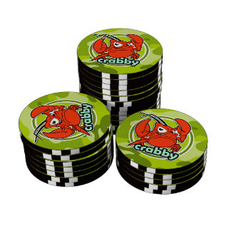Funny Crab bright green camo camouflage Set Of Poker Chips