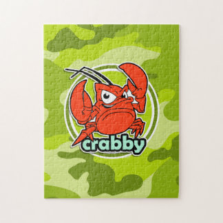 Funny Crab bright green camo camouflage Jigsaw Puzzles