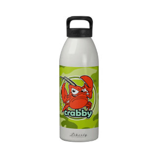 Funny Crab bright green camo camouflage Drinking Bottles