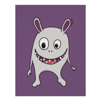 Funny Cracked Teeth Happy Monster Poster