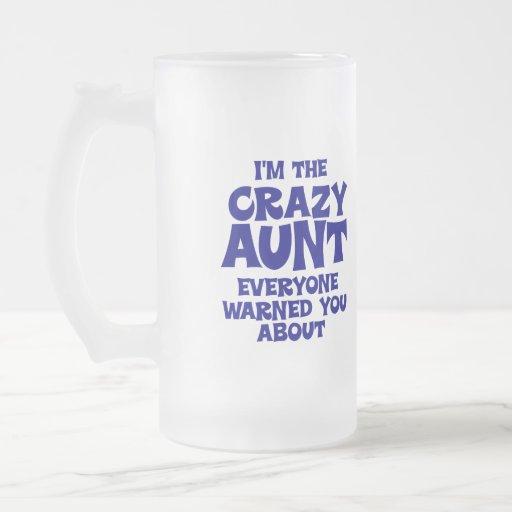 Funny Crazy Aunt 16 Oz Frosted Glass Beer Mug