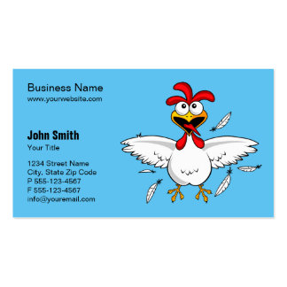 Funny Crazy Cartoon Chicken Light Blue Background Business Card