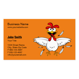 Funny Crazy Cartoon Chicken Orange Background Pack Of Standard Business Cards