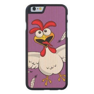 Funny Crazy Cartoon Chicken Wing Fling Carved® Maple iPhone 6 Slim Case