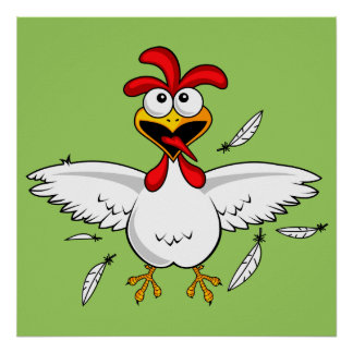 Funny Crazy Cartoon Chicken Wing Fling Poster