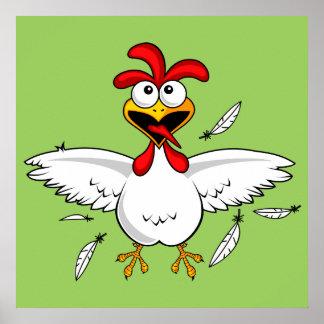 Funny Crazy Cartoon Chicken Wing Fling Poster