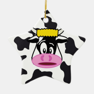 Funny Crazy Cow Bull on Dairy Cow Print Pattern Christmas Ornament