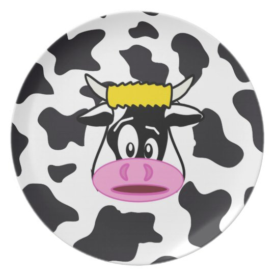 Funny Crazy Cow Bull on Dairy Cow Print Pattern Plate