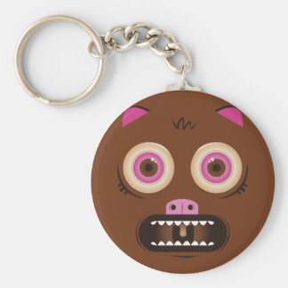 Funny crazy monster basic round button keychain