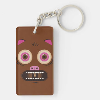 Funny crazy monster Double-Sided rectangular acrylic keychain