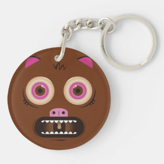 Funny crazy monster Double-Sided round acrylic keychain